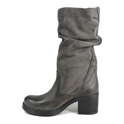 grey biker boots biker boots heel in genuine leather gray fall winter