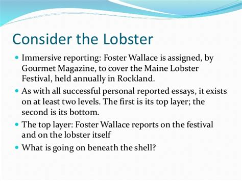 Consider The Lobster Essay by Personal Reported Essay Cnf 2016