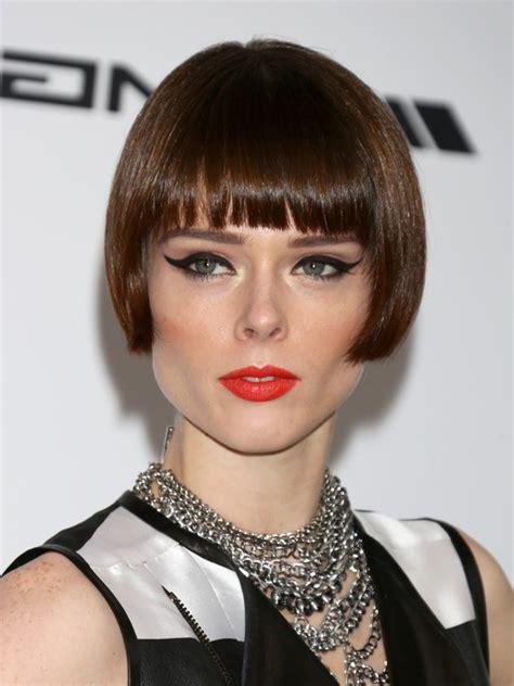 medium blunt hairstyles with bangs coco rocha short haircut with blunt bangs bob cut