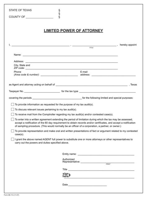 download texas power of attorney form for free formtemplate