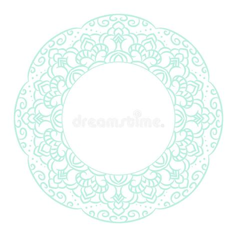 circle card template baby blue mandala circle rosette card template stock