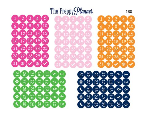 printable dot stickers mini numbered dots planner stickers for filofax kikki erin