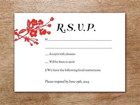 Dinner Response Card Template by Gong Xi Printable Wedding Rsvp Card
