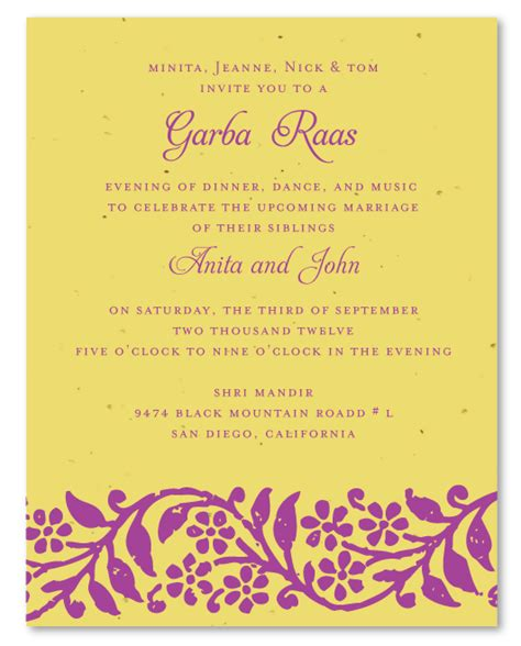Indian Wedding Reception Cards Templates by Indian Wedding Invitations On Plantable Paper Raas Garba
