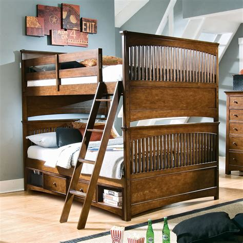 full over full bunk beds with stairs for big family