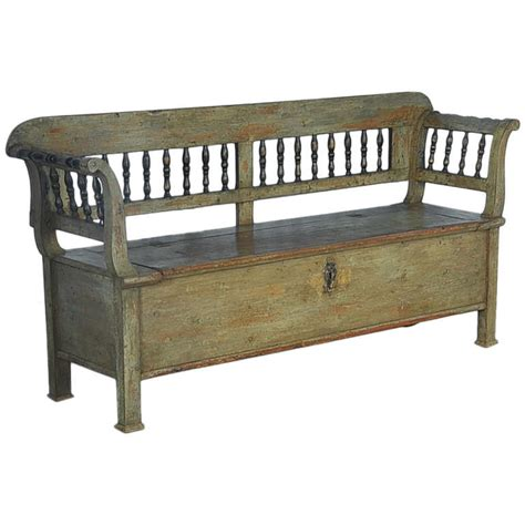 green storage bench antique original green painted bench with storage dated
