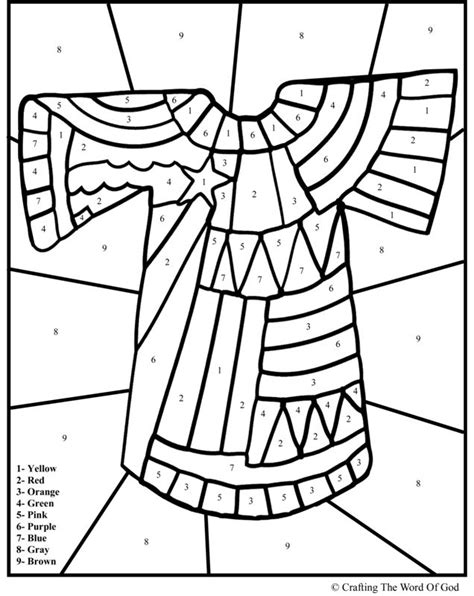 sunday school coloring pages for joseph josephs coat of many colors color by number joseph