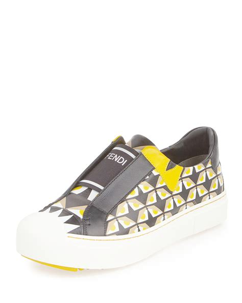 fendi sneakers fendi bug slip on sneaker in yellow lyst