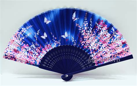 Silk Japanese Fan Light Blue Folding Fan Yukata