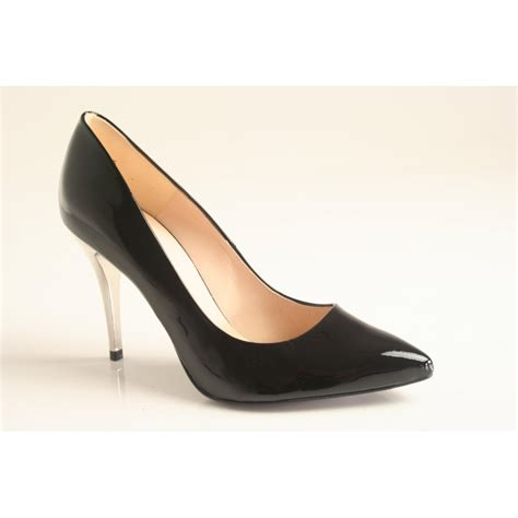 kaiser kaiser style quot ilona quot black patent leather pointed court shoe with leather