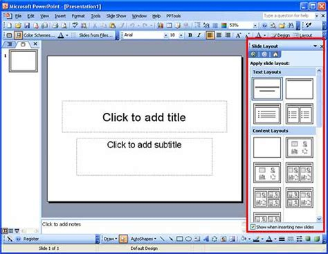 layout of a powerpoint applying slide layouts in powerpoint 2003 powerpoint