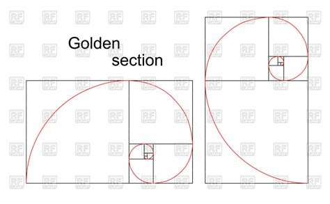golden section ratio double golden spiral section ratio proportion vector