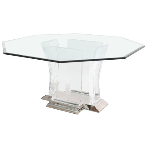 Octagon Shaped Dining Table Octagonal Dining Table In Lucite Glass And Polished Nickel By Spectrum Limited For Sale At 1stdibs