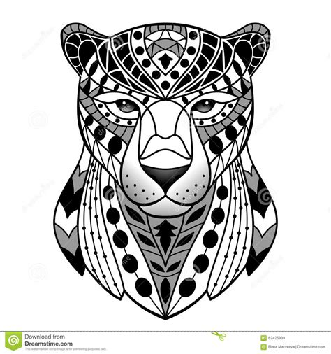 geometric jaguar tattoo abstract black panther stock vector illustration of