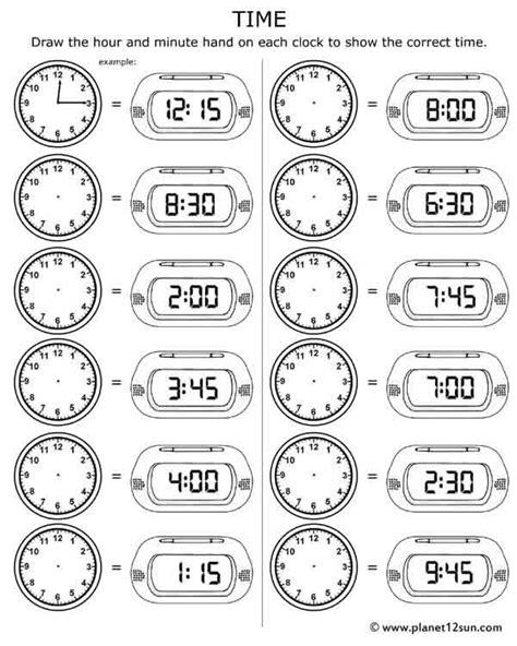 telling time free printable worksheet worksheets