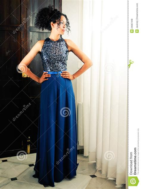 Fashion Blue afro hair model of fashion with blue dress stock