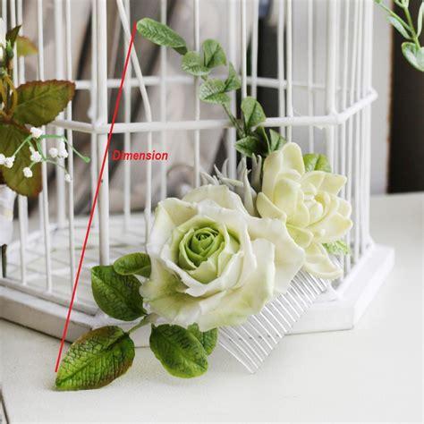 Handmade Flowers For Wedding - ivory bridal flower hair comb handmade flowers oriflowers