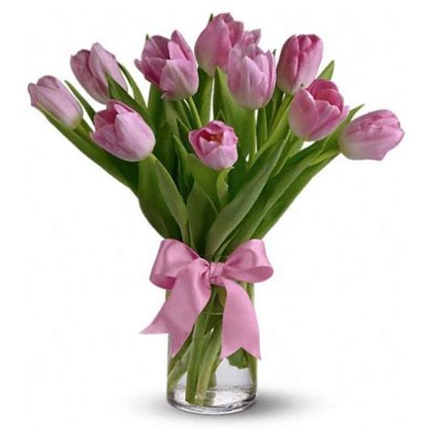 Tulips Arranged In Vase by The Pink Prelude Tulips Arrangement In A Vase