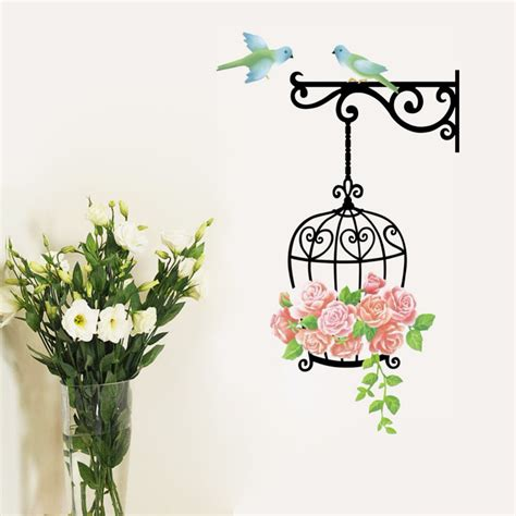 wall art decor floral vines wall sticker by wall art decor cute birdcage birds rose flower vines mural wall stickers