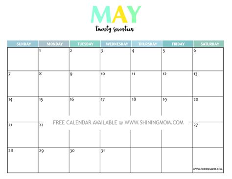 2017 May Calendar Printable