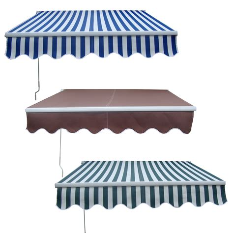 retractable sun awning new manual aluminium retractable awning canopy garden patio sun shade shelter ebay