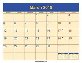 Calendar 2018 March March 2018 Calendar Printable With Holidays Pdf And Jpg