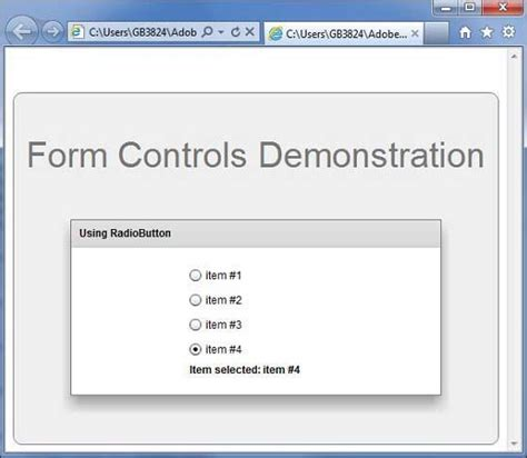 format html radio button flex radiobutton control