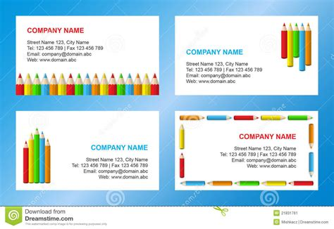 school business card templates crayons business card template stock vector illustration