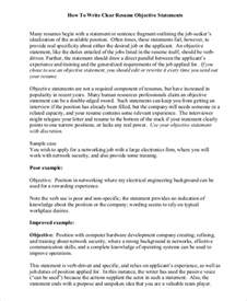 Objective Statement For Resume by Sle Objective Statement Resume 8 Exles In Pdf
