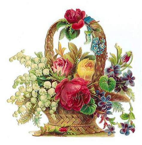 printable basket with flowers vintage flower basket printables and ephemera