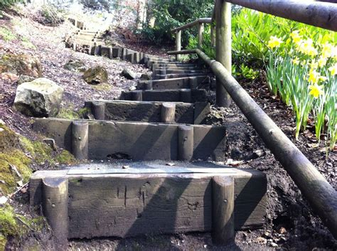 How To Build Steps With Railway Sleepers by Matlock S Railway Sleeper Steps