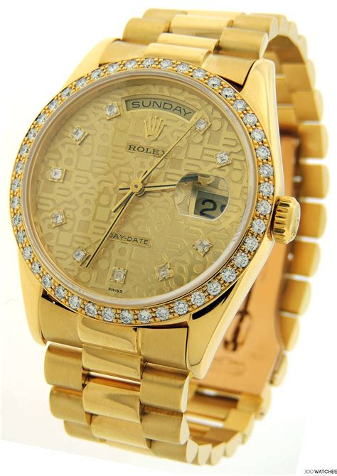 mens rolex president day date 18k yellow gold