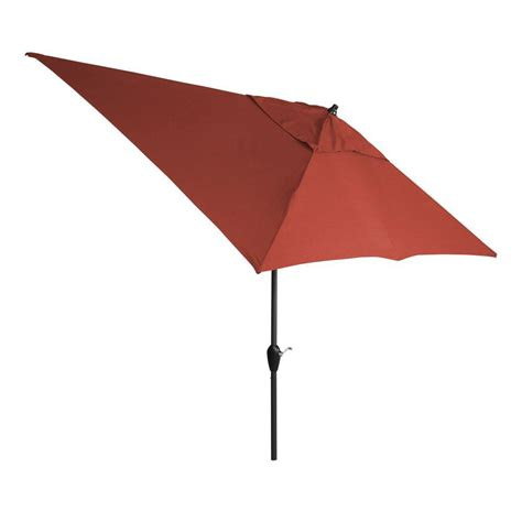 Canvas Patio Umbrella Hton Bay 10 Ft X 6 Ft Aluminum Patio Umbrella In Chili With Push Button Tilt 9106 01004011