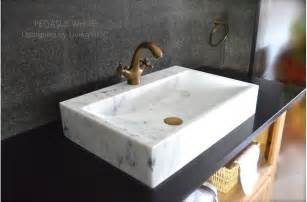 24 quot white marble bathroom vessel sink faucet