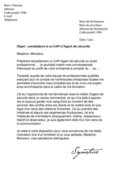 Lettre De Motivation De Securite Lettre De Motivation Cap De S 233 Curit 233 Mod 232 Le De Lettre
