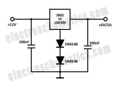 12v to 6v converter circuit with 7805