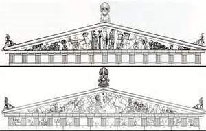 parthenon template reconstruction drawings east and west pediments parthenon
