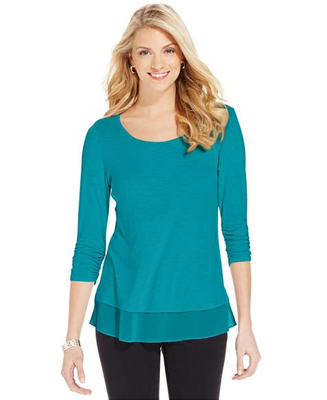 Tops Style by Lyst Style Co Chiffon Hem Three Quarter Sleeve Top In