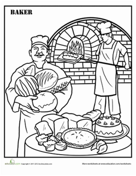 baker coloring pages preschool baking coloring page education com