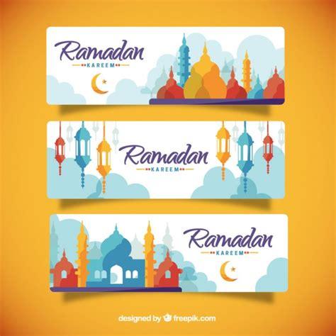 desain brosur freepik colored silhouettes ramadan banners vector free download