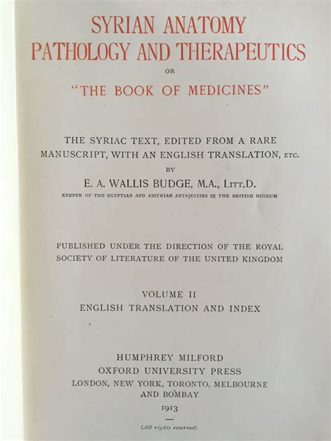 Syrian Anatomy Pathology And Therapeutics Or The Book Of