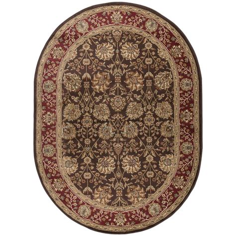 oval rugs tayse rugs elegance brown 6 ft 7 in x 9 ft 6 in oval indoor area rug 5338 brown 7x10 oval