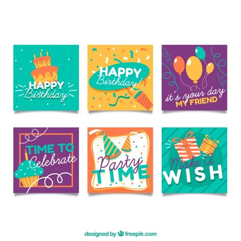 Small Birthday Cards small birthday cards collection vector free
