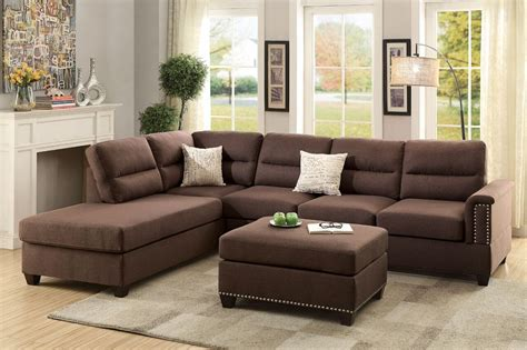 3pc sectional with chaise modern plush 3pc reversible sectional chocolate sofa l r