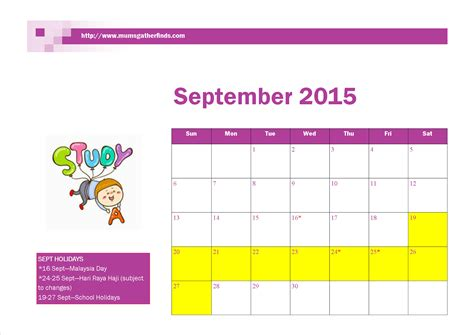 Calendar 2015 Printable With Holidays Malaysia Free Printable September 2015 Calendar With Malaysia