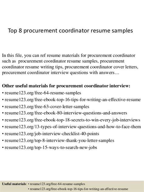 top 8 procurement coordinator resume 28 images