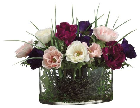 oval glass vase traditional artificial flower