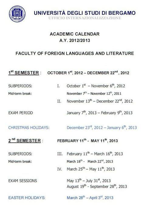 4 Calendrier Universitaire Le Calendrier Universitaire 2012 2013 Mon Erasmus 224