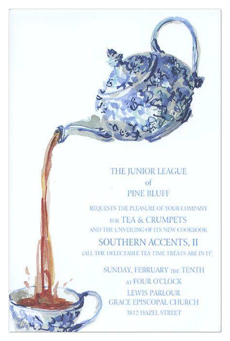 blue chintz tea invitation polka dot design