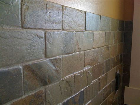 tumbled slate backsplash tile and grout installation kitchen renovation and